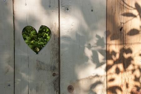 Heart shape in wooden door