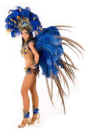 Portrait of young woman in blue carnival costume