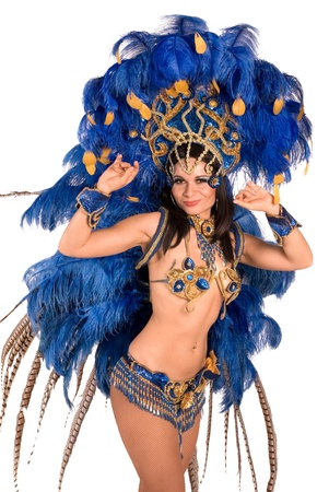 Portrait of young woman in blue carnival costume photo
