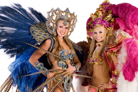 Portrait of young women in carnival costume photo