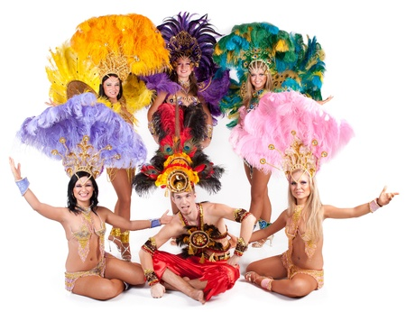 Portrait of young people in carnival costumes Stock Photo