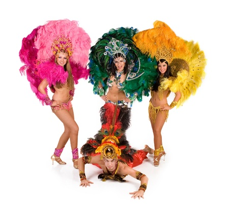 Portrait of young people in carnival costume Stock Photo