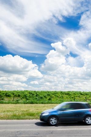 Car of the beautiful landscape