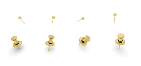 push pin: Golden push pins for your design Stock Photo