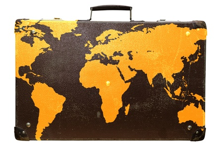 globetrotter: Old suitcase globetrotter with a world map. Stock Photo