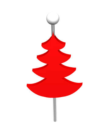Christmas tree push pins isolated on white background photo