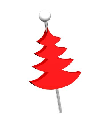 Christmas tree push pins isolated on white background Stock Photo