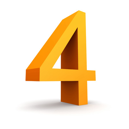 Number 4: Collection of orange numbers on a white  Stock Photo