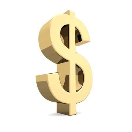 us dollar: Golden U.S. dollar symbol on a white background