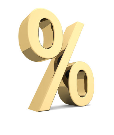 Golden percent symbol on a white background photo
