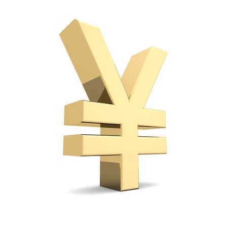 abundance money: Golden yen symbol  Stock Photo