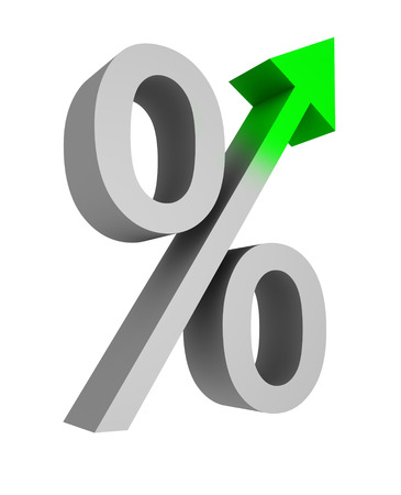 mortgage rates: percent symbol on white background
