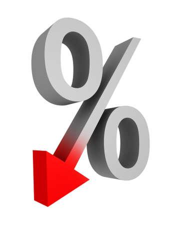 decline percent symbol on white background photo