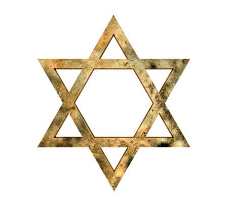 Golden Star of David against white background