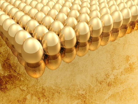 ester: Golden eggs on the vintage background Stock Photo