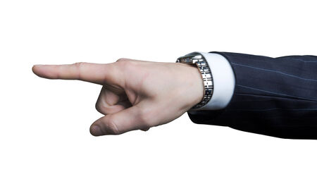 A hand with a pointing index finger on a white background photo