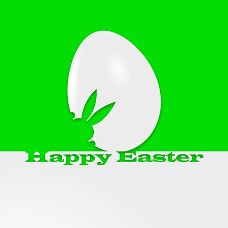 hallelujah: A white-green graphic of an Easter egg and a bunny with a writing Happy Easter