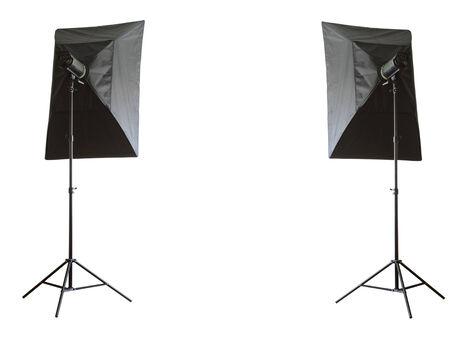 monolight: Two studio lamps on white background