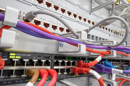 patch panel, internet cables, Rj45, Installation of a lan network in a rack