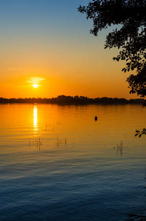 the setting sun over the Masurian Lake in Poland. Sunset over the water. Grass sticking out of the water