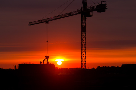 Construction workers posture on the building roof and crane during sunset