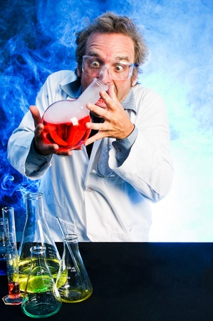 obsessed: Crazy scientist handling explosive concoction