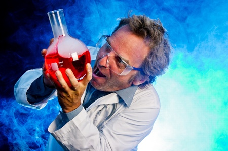 experimenting: Mad scientist, obsessed with his chemical creation