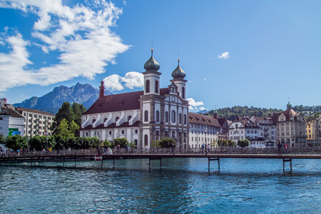 View of Jesuitenkirche and surroundings from the Chapel Bridge, Lucerne, Switzerland Banque d'images