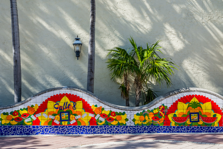 Miami Calle ocho mosaic at Little Havana domino park Stock Photo - 100582063