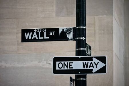 Wall street sign in the Financial District of Lower Manhattan