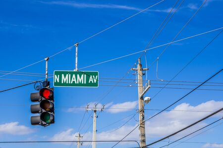 Miami sign and light traffic network
