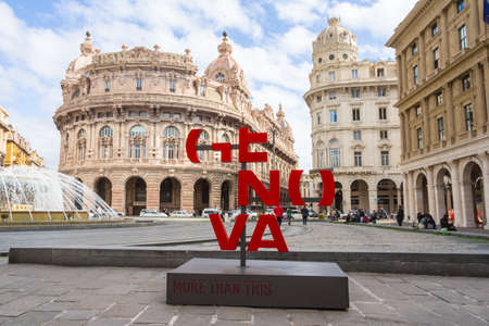 architecture monumental: GENOA, ITALY - March 06, 2017: Piazza Ferraris, the main square of Genoa. Situated in the heart of the city between the historical and the modern center. Editorial