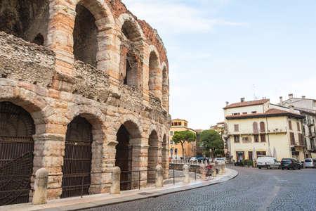 rotunda: VERONA, ITALY - March 07, 2017: The Verona Arena is a Roman amphitheatre in Piazza Bra in Verona, Italy built in the first century