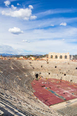 VERONA, ITALY - March 07, 2017: The Verona Arena is a Roman amphitheatre in Piazza Bra in Verona, Italy built in the first century