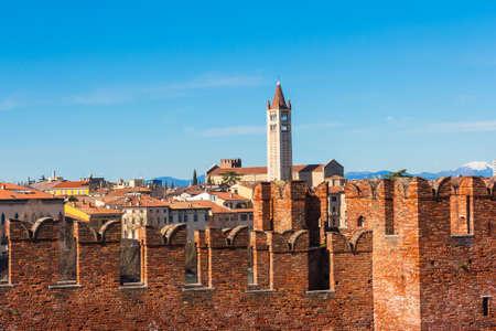 Medieval walls of Castelvecchio Castle in Verona Italy Editorial