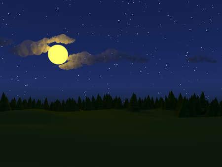 Low poly landscape night 3d illustration render