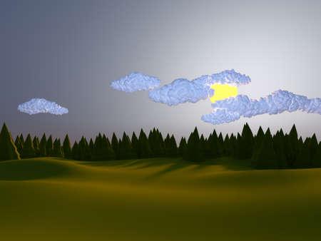 Low poly landscape hills 3d illustration render Stock Photo