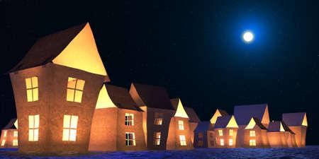 Paper lodges winter landscape 3D illustration