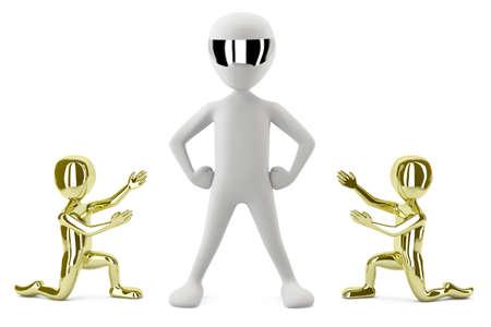 autonomia: 3D personas pequeñas de oro mostrar su imagen de líder 3d aislado en el fondo blanco