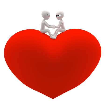 Two 3d small man and a woman sitting on a red heart  Holding hands and looking at each other  Isolated on white background  3D-image  3D love
