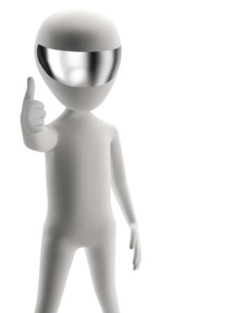 3d people - positive yes  3d image  Isolation on a white background