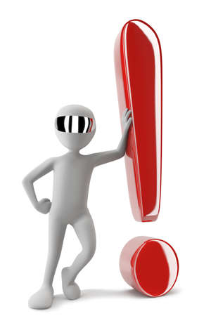 3D man with a red exclamation point  3D image  White background