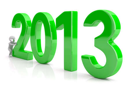 Starts a new year 2013  3d image  On a white background  Stock Photo