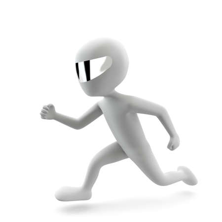 3d man running  3d image  On a white background