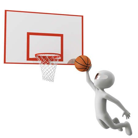 3d man throws the ball to the basket  3d image  On a white background  Stock Photo