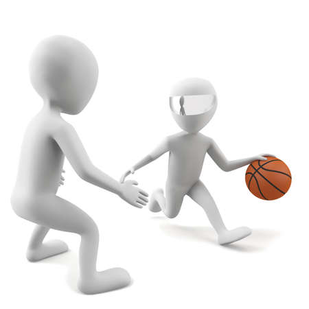 3d people play basketball  3d image  On a white background  Stock Photo