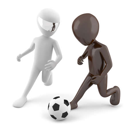 Two 3d man playing football  3d image  On a white background