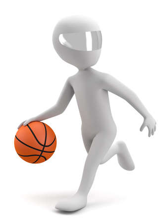 3d man running with a basketball ball  3d image  On a white background