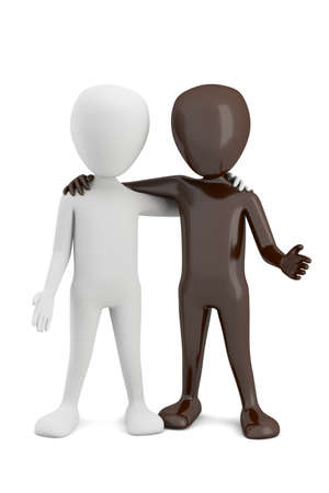 3d small people-friendship countries  3d image  On a white background
