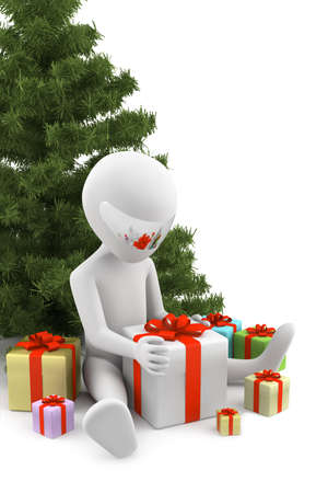 3d man received gifts  3d image  On a white background